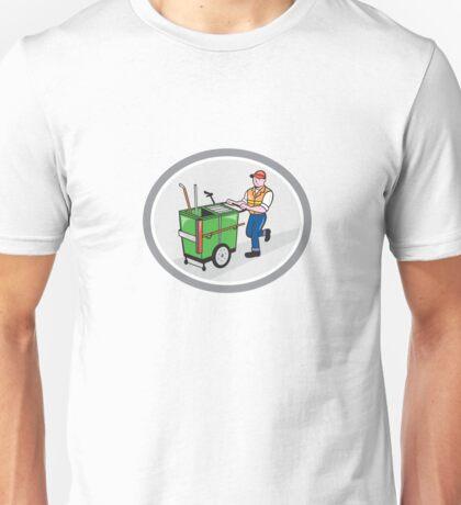 Street Cleaner Pushing Trolley Oval Cartoon Unisex T-Shirt