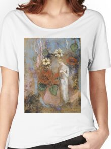 Pandora - Pandora. Garden landscape: garden view, trees and flowers, blossom, nature, woman, Mystery, wonderful flowers, dream, think, garden, flower Women's Relaxed Fit T-Shirt