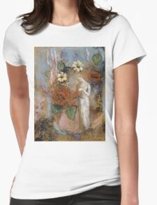 Pandora - Pandora. Garden landscape: garden view, trees and flowers, blossom, nature, woman, Mystery, wonderful flowers, dream, think, garden, flower Womens Fitted T-Shirt
