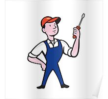 Electrician Standing Holding Screwdriver Cartoon Poster