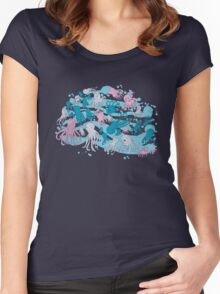 octopus party Women's Fitted Scoop T-Shirt