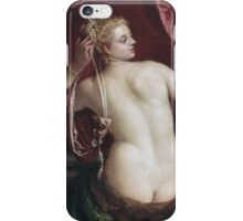 Paolo Veronese - Venus With A Mirror. Woman portrait: sensual woman, nude, beautiful dress,  Mirror, Accessories, Venus,  lady, madame, love, sexy lady, erotic pose iPhone Case/Skin