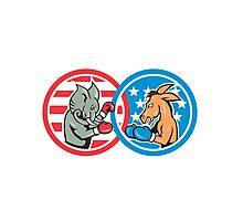 Boxing Democrat Donkey Versus Republican Elephant Mascot Photographic Print