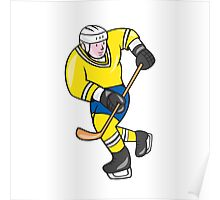 Ice Hockey Player Holding Stick Cartoon Poster