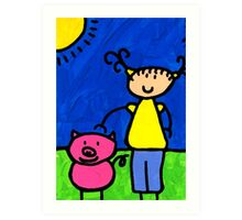 Happi Arte 1 - Girl With Pink Pig Art Art Print