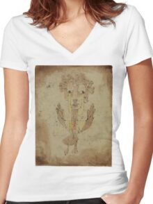 Paul Klee - Angelus Novus. Abstract painting: abstract art, geometric, Angelus,  Novus, lines, forms, creative fusion, spot, shape, illusion, fantasy future Women's Fitted V-Neck T-Shirt