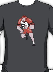Rugby Player Running With Rugby Ball Cartoon T-Shirt