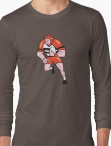 Rugby Player Running With Rugby Ball Cartoon Long Sleeve T-Shirt