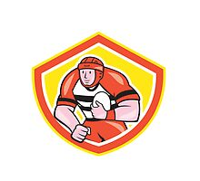 Rugby Player Holding Ball Shield Cartoon by patrimonio