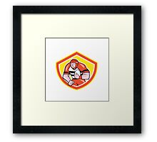 Rugby Player Holding Ball Shield Cartoon Framed Print