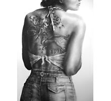 Tattoo Study, tattooed lady Photographic Print