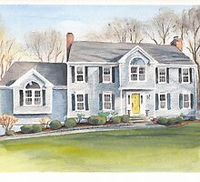 blue house watercolor by Mike Theuer