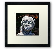Anole on Statue Framed Print
