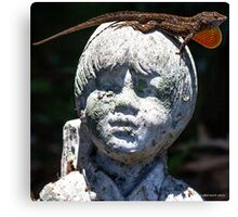Anole on Statue Canvas Print