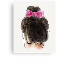 Bun and pink bow Canvas Print