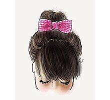 Bun and pink bow Photographic Print