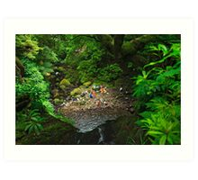 Bathing in the forest Art Print