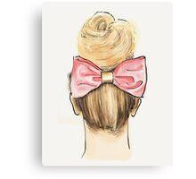 Pink bow, big bun Canvas Print