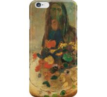 Odilon Redon - Mystery 1910. Garden landscape: garden view, trees and flowers, blossom, nature, woman, Mystery, wonderful flowers, dream, think, garden, flower iPhone Case/Skin