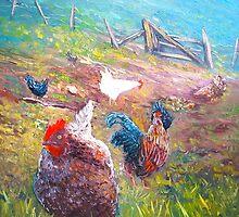 Farm Yard Chickens by HelenBlair