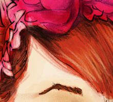 Red hair and flowers crown Sticker