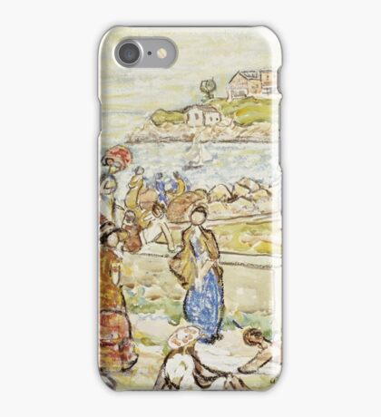 Maurice Brazil Prendergast - Bathers And Strollers At Marblehead. Beach landscape: sea view, yachts, holiday, sailing boat, beach, marine, family seascape, sun, nautical panorama, coastal travel iPhone Case/Skin