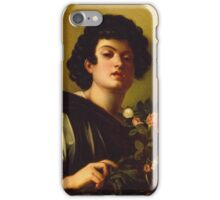 Michelangelo Merisi Da Caravaggio - Boy With A Carafe Of Roses . Man portrait: Young man, curly head, male, secular,  young, masculine, boyfriend, smile, still life , sexy men, Roses  iPhone Case/Skin
