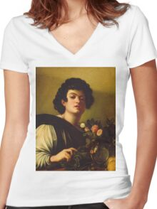 Michelangelo Merisi Da Caravaggio - Boy With A Carafe Of Roses . Man portrait: Young man, curly head, male, secular,  young, masculine, boyfriend, smile, still life , sexy men, Roses  Women's Fitted V-Neck T-Shirt
