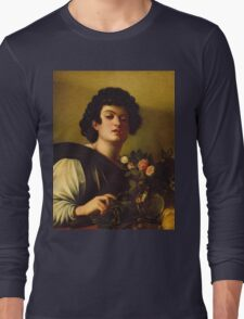 Michelangelo Merisi Da Caravaggio - Boy With A Carafe Of Roses . Man portrait: Young man, curly head, male, secular,  young, masculine, boyfriend, smile, still life , sexy men, Roses  Long Sleeve T-Shirt