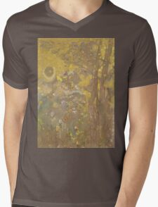 Odilon Redon - Trees On A Yellow Background 1901. Garden landscape: garden view, trees and flowers, blossom, nature, botanical park, floral flora, wonderful flowers, plants, cute plant, garden, flower Mens V-Neck T-Shirt