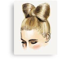 Blonde bow bun Canvas Print