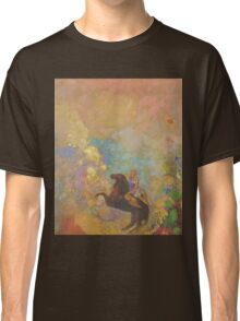 Odilon Redon - Muse On Pegasus 1907 . Garden landscape: garden, trees and flowers, blossom, Muse, woman, horse, wonderful flowers, dream, think, garden, flower Classic T-Shirt