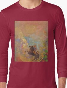Odilon Redon - Muse On Pegasus 1907 . Garden landscape: garden, trees and flowers, blossom, Muse, woman, horse, wonderful flowers, dream, think, garden, flower Long Sleeve T-Shirt
