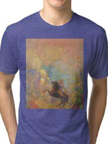 Odilon Redon - Muse On Pegasus 1907 . Garden landscape: garden, trees and flowers, blossom, Muse, woman, horse, wonderful flowers, dream, think, garden, flower Tri-blend T-Shirt