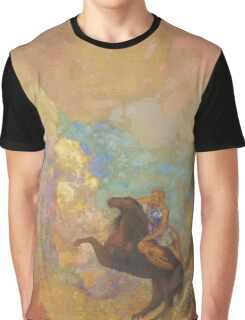 Odilon Redon - Muse On Pegasus 1907 . Garden landscape: garden, trees and flowers, blossom, Muse, woman, horse, wonderful flowers, dream, think, garden, flower Graphic T-Shirt