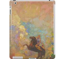 Odilon Redon - Muse On Pegasus 1907 . Garden landscape: garden, trees and flowers, blossom, Muse, woman, horse, wonderful flowers, dream, think, garden, flower iPad Case/Skin