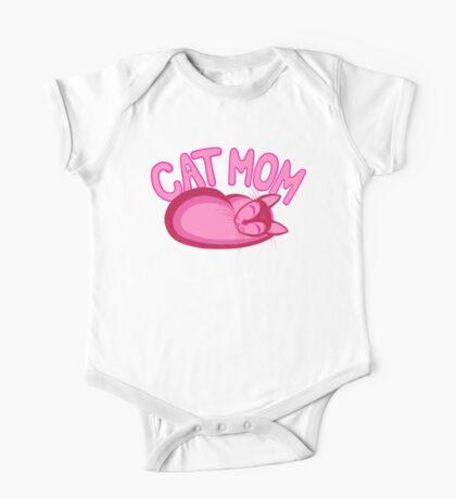 Cat Mom Pink Cartoon Cat Lover Design One Piece - Short Sleeve