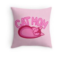 Cat Mom Pink Cartoon Cat Lover Design Throw Pillow