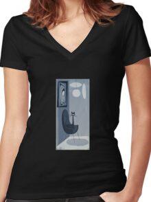 Gato Gray Women's Fitted V-Neck T-Shirt