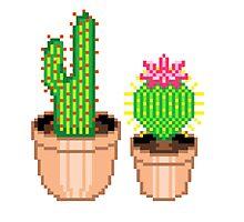 Pixel Cacti Photographic Print