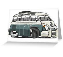 VW T1 23 window cartoon green Greeting Card