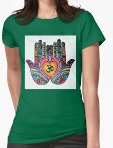 Om Mandala Hands Womens Fitted T-Shirt