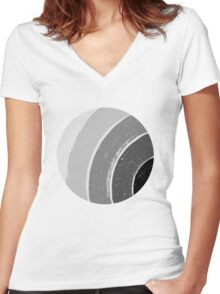 Brush Abstract 4 Grey Women's Fitted V-Neck T-Shirt