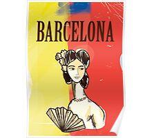 Barcelona vintage travel poster Poster