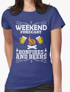 weekend camping bonfires marshmallow get toasted Womens Fitted T-Shirt