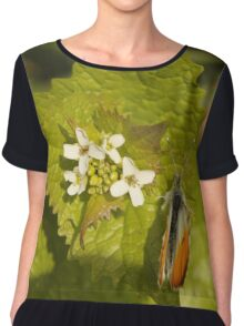 Orange Tip With Flowers Chiffon Top