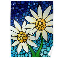 Bathing Beauties Colorful Daisy Art By Sharon Cummings Poster