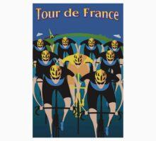 """TOUR DE FRANCE"" Art Deco Bike Racing Print One Piece - Short Sleeve"