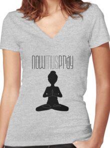 Yoga+pray female Women's Fitted V-Neck T-Shirt