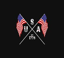 Vintage USA Est 1776 Flags Womens Fitted T-Shirt